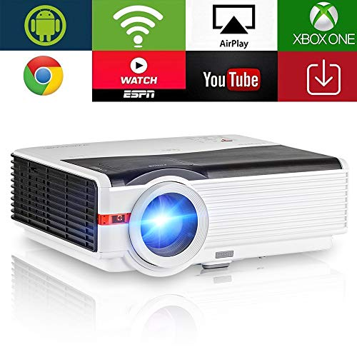 Lampe für Home Cinema LED Wireless Multi-Media WiFi LCD Auflösung 1280x 800unterstützt 1080P HD Beamer für Spiele TV 3d red-blue 5000Lumen mit USB HDMI VGA ATV (manuell Englisch, Britische Stecker)