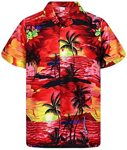 V.H.O. Funky Camisa Hawaiana, Surf, Rojo, L