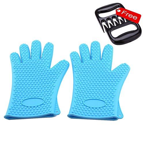 jyhy BBQ Handschuhe & Pulled Pork Krallen Set, Kochen Handschuhe Germ & hitzebeständig, Sure Grip Silikon, BBQ Sicher, wasserdicht, Spülmaschinenfest, Silikon, blau, L