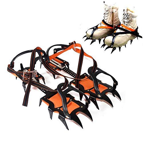 YUSDP Climbing 14 Spikes Ice Cleats Snow Grips - Längenverstellbar - Robustes, rutschfestes Barb-Design aus hochmanganhaltigem Stahl für Winterwanderungen oder Wanderungen im Schnee (Frauen-schnee-stiefel Beste)