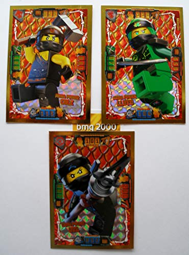 Lego Ninjago Serie 4 - 3 Limitierte Gold Karten Trading Card LE 2 Mega Power Cole LE 3 Mega Power Lloyd LE 4 Mega Power NYA + 1 Gold Sticker Aufkleber Gold-karte