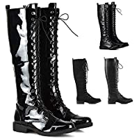 Womens Knee High Lace Up Calf Biker Ladies Black Zip Punk Military Combat Army Block Heel Boots Size 3-8