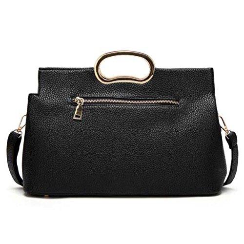 Mode Für Frauen Schulterbeutel Kurierbeutel Litschi Muster Handtasche Black