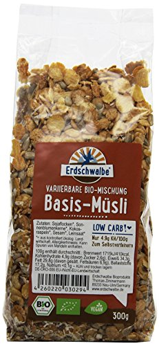 Erdschwalbe Bio Basis-Muesli Low Carb, 5er Pack (5 x 300 g)