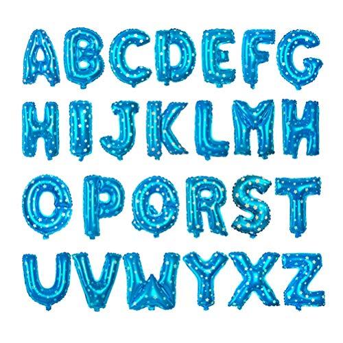 BESTOYARD Globos de Helio en Forma de Letras de 26 Alfabeto para Fiesta de Cumpleaños Boda Decoración de Navidad 16 Pulgadas (Azul)