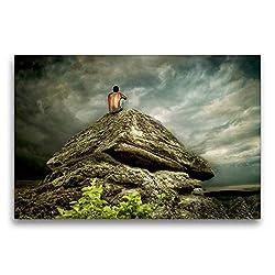 Calvendo Premium Textil-Leinwand 75 cm x 50 cm quer, Bergmeditation | Wandbild, Bild auf Keilrahmen, Fertigbild auf echter Leinwand, Leinwanddruck: In der Stille Glaube Glaube