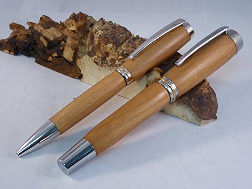 Set Schreibgerät Füller XL + Kugelschreiber Apfel Holz