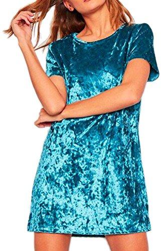 Frauen einfach lässig locker Minikleid Blue
