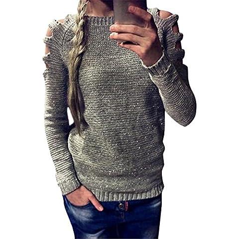 ZARU Mujeres sueltan el suéter de la rebeca de punto Jumper Prendas de punto Outwear manga larga de color sólido