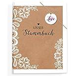 bigdaygraphix Stammbuch der Familie Familienstammbuch Sweet Vintage Kraftpapier und Spitze