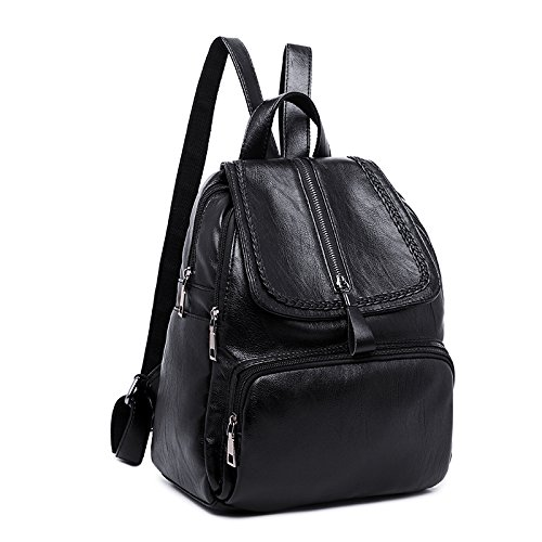Damen Tasche Trend Wild Fashion PU-Leder Rucksack (Color : Black, Size : M)