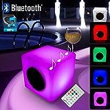 Mervy - Cube Led Lumineux Multicolore Enceinte Bluetooth 15cm Rechargeable avec Télécommande