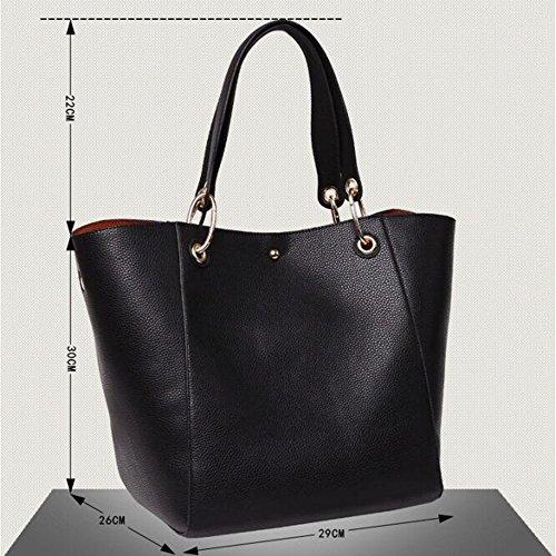 Leder 8 Farben Neu Elegant Große Handtasche Europäische stil Schultertaschen Umhängetasche Shopper Tasche Henkeltasche Beuteltasche Weich Damentasche (Braun) Bronze
