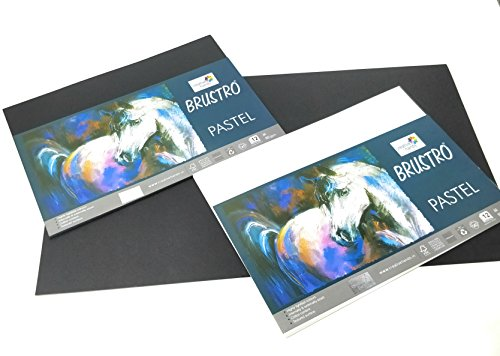 Brustro Artist's Pastel Papers 160 GSM A4 Black   White 24 Sheets  12 Sheets of Each Color