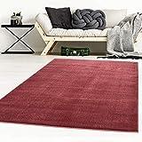 Taracarpet Designer-Teppich Galant Flauschige Flachflor Teppiche fürs Wohnzimmer, Esszimmer, Schlafzimmer oder Kinderzimmer weich und Schadstoffgeprüft rot 200x200 cm