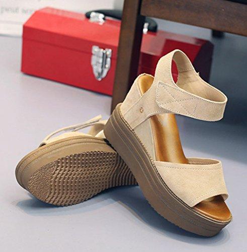 Damen Sandalen Einfache Schick Bequem Atmungsaktive Peep-Toe Leicht Klettverschluss Halbschuhe Pantolette Durchgängiges Plateau Weiß