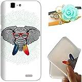 Rockconcept Huawei Ascend G7 Funda, Serie del Elefante Diseño [Con Gratis Tapón de Polvo] Protectiva Carcasa de Silicona Gel TPU Funda Cover Carcasa Case Cover para Huawei Ascend G7 (Gafas de elefante)