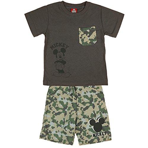 Jungen Mickey Mouse Sommer-Set zweiteilig T-Shirt Kurzarm mit Short in GRÖSSE 74, 80, 86, 92, 98, 104, 110, 116, ideales Strand-Outfit, T-Shirt mit KURZER Hose in Camouflage Size 74