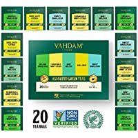 VAHDAM, Assortimento di tè verde 5 tè, 4 bustine di tè piramide ciascuno   Himalayan, Mint Melody, Camomilla Mint Citrus, Earl Grey e Sweet Himalayan Green Tea   Dall'India