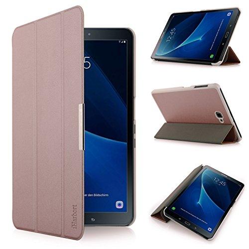 iHarbort Premium Hülle für Samsung Galaxy Tab A 10.1 (SM-T580/T585) - Samsung Galaxy Tab A 10.1 hülle Etui Schutzhülle Case Cover Holder Stand mit Smart Auto Wake/Sleep-Funktion (Roségold)