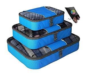 Organizer per valigia UNA SETTIMANA DI SALDI - Set da 4 pezzi - Inclusa borsa riponi-scarpe in omaggio - Garanzia a vita - By Bingonia - Blu