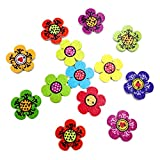 #8: Generic Pack of 100 Assorted Flower Shape Decorative Wooden Buttons for Sewing and Crafts 20mm