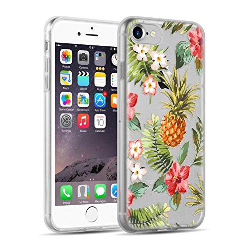 Cover iPhone 8 Cover iPhone 7, JAMMYLIZARD [Sketch] Custodia in Silicone Trasparente Semi Morbido Ultra Slim con Disegno per Apple iPhone 8 e Apple iPhone 7, ALICE SILHOUETTE TROPICAL