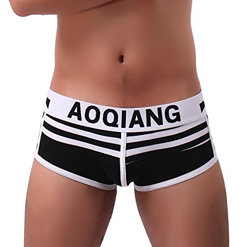 POIUDE Männer Hot Sexy Unterwäsche Boxer Kurze Shorts Boxer Unterhose Kurze Hose Reizvoller Atmungsaktiv Baumwolle Slip(Schwarz, S)