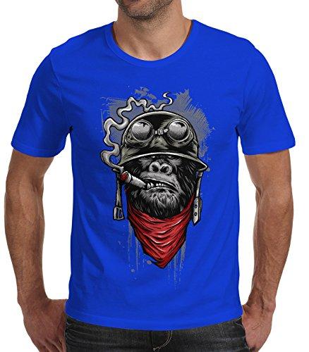 Herren T-Shirt - Gorilla Motor Biker mit Helm - Moonworks Royal