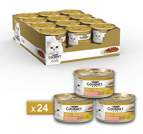 Purina gourmet gold umido gatto dadini in salsa con salmone e pollo - 24 lattine da 85 g ciascuna (confezione da 24 x 85 g)