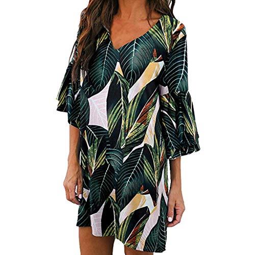 AHAYAKU Mode Damen V-Ausschnitt Half Flare Sleeve Leaf Printed Lässige Party Beach Kleid