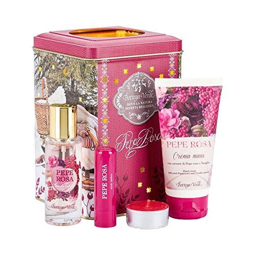 Bottega verde - confezione regalo lanterna pepe rosa - set della linea pepe rosa con crema mani, eau de toilette e stick labbra - con candela inclusa nella confezione decorativa in metallo