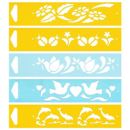 4cm Flexibel Kunststoff Universal Schablone - Textil Kuchen Wand Airbrush Möbel Dekor Dekorative Muster Torte Design Technisches Zeichnen Zeichenschablone Wandschablone Kuchenschablone - Blumen Marienkäfer Friedenstaube Delphin Tiere ()