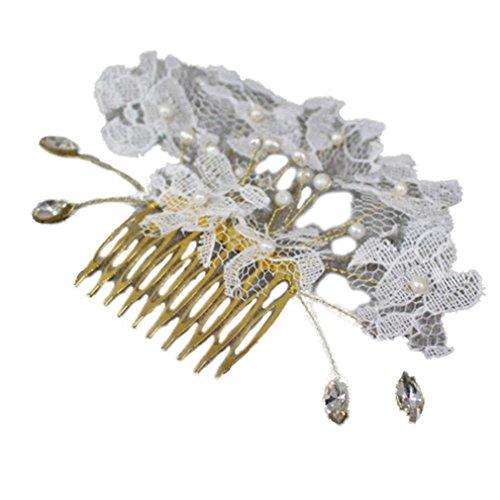 YAZILIND moda novia pelo accesorios tocado de boda brillante perlas Lace flor peine del pelo