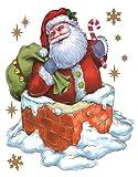 dpr. Fensterbild Weihnachtsmann Nikolaus mit Sack im Schornstein Kamin zart beglimmert statisch haftend Weihnachten Advent Fenstersticker Aufkleber Fensterdekoration Fensterfolie