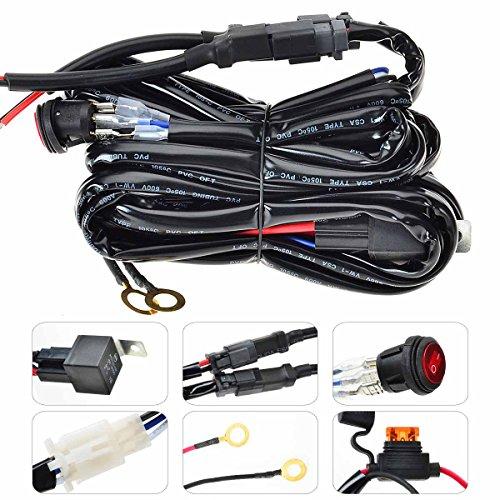 KAWELL Arneses de cableado - Arnés de Alambrado Barra de luces del LED Faro Antiniebla Fusible 40A relé Interruptor de Encendido / Apagado Impermeable (2 Plomo 9 Pies)