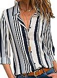 VICROAD Damen Hemd Casual Bluse Bunte Gestreifte Langarm Shirt Taste T Shirts Tops