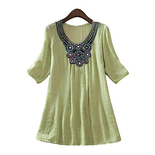 DINGANG® Mode Damen Stickerei Muster V-Ausschnitt Halbarm Beiläufige Lose Bluse Hemd Oberteile T-Shirt Hellgrün