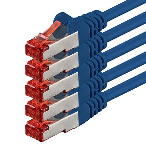 1aTTack.de 85267 - 1m - CAT6 Netzwerkkabel CAT.6 Patchkabel (PoE) Ethernetkabel SFTP PIMF 1000 Mbit/s - 5 Stück - blau