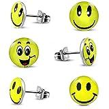 3 Paar Smiley Ohrstecker 316L Edelstahl Mädchen Damen Ohrringe Set