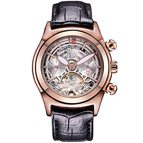 Handcuffs Forsining Auto Mechanical Tourbillon Watch for Men Skeleton Dial Leather Strap