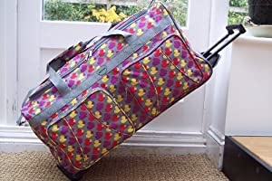 Travel Holdall LARGE Luggage Suitcase Bag Wheels hand Grey Hearts