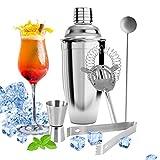 Metalbay Kit da barman, Set per Cocktail e Bevande, Shaker Boston 750 ml + Doppio Dispenser da 1/2 oz + Filtro per Tè Freddo + Cucchiaio Mixer + Pinza,Acciaio inox 5 pezzi