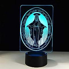 Idea Regalo - Luci Notturne 3d Led Tavolo Luce La Vergine Maria Lampada Usb Colore Visivo Atmosfera Decor Innovazione Regali Di Natale Per Buona Fortuna