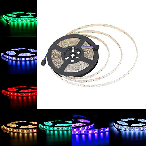 Allbuymall 16.4ft/5M SMD 5050 Wasserdichte Streifen,RGB Flexible Einstellbar Auswählbar LED Stripe,LED Lichtleisten,LED Band,LED Leisten Supper Lichtleistung 300 LEDs DC 12V 60 LEDs/m