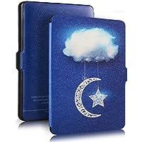 Cubierta protectora de cuero de la PU con Auto despertar o dormir para Amazon Kindle Paperwhite(Sky Clouds)
