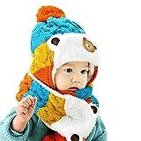 Bonnets, casquettes et bobs bébé, Kfnire toddler beanie ball earflaps chapeau chaud avec écharpe mignonne (bleu)