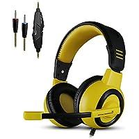 KKmoon X6 Kit Set Audio Professionale Esport Gaming Stereo in Materia Di Udito Da 3,5 mm con Cavo, con Microfono Per PC Negro-amarillo
