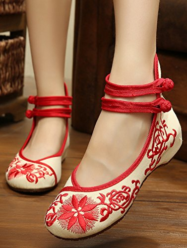 ICEGREY Women's Blossom Embroidered Walking Flat Shoes