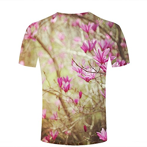 ouzhouxijia Mens 3D Printed T-Shirts Clustered Pink Magnolia Flowers Graphics Couple Tees B